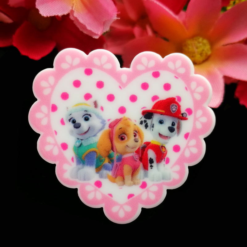 40pcs/Lot 35x32mm Heart Cartoon Dog Resin Planar Movie Character Resin Flatback Cabochon DIY Hair Bow Center Decoration Craft