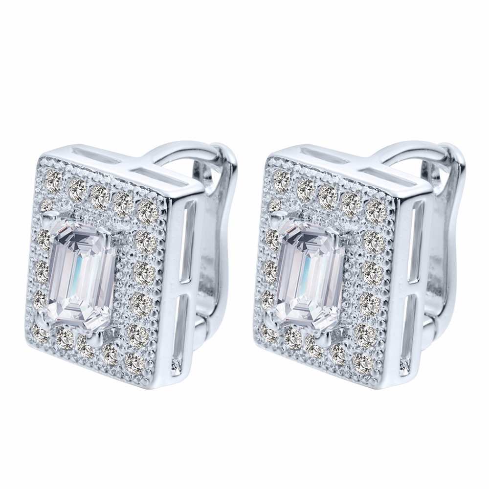 QIAMNI 10pcs/lot Rectangle Cubic Zirconia Earring Stud For Women Best Christmas Earring Gift White Beautiful