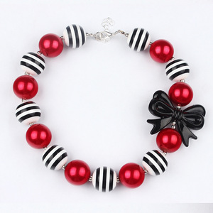 New Style Kids Girl Bow Necklace Girls Chunky Striped Beads Bubblegum Necklace Toddler Baby Birthday Presents Bowknot Necklaces