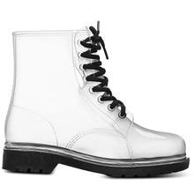 Aleafalling Women Rain Boots Mature Lady Lace Up Waterproof Lady Shoes Transpare