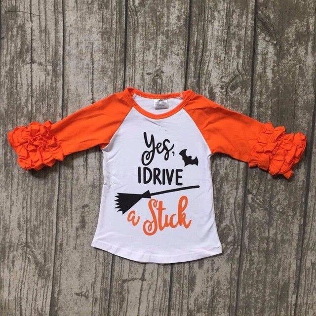 6bf9ca35a new children Halloween raglans children bat raglans baby girls I drive  stick raglans top shirts t-shirt orange sleeve clothes