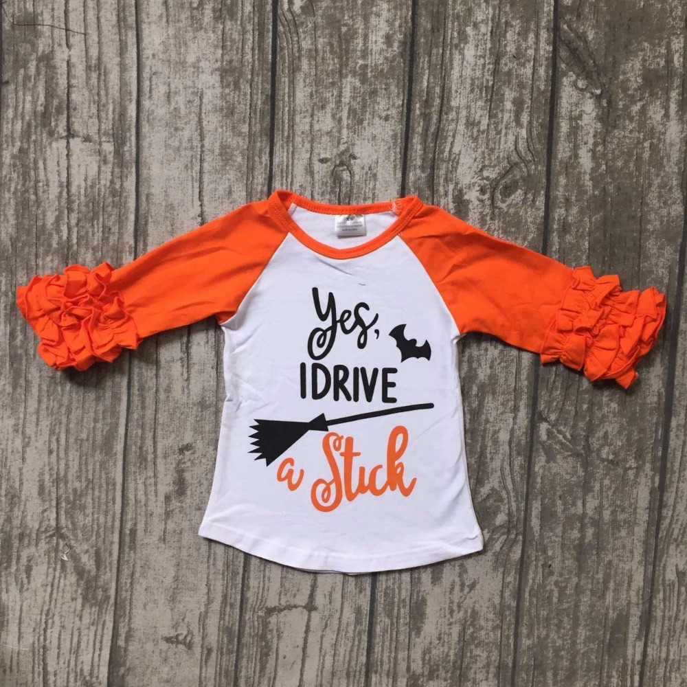 new children Halloween raglans children bat raglans baby girls I drive stick raglans top shirts t-shirt orange sleeve clothes ...