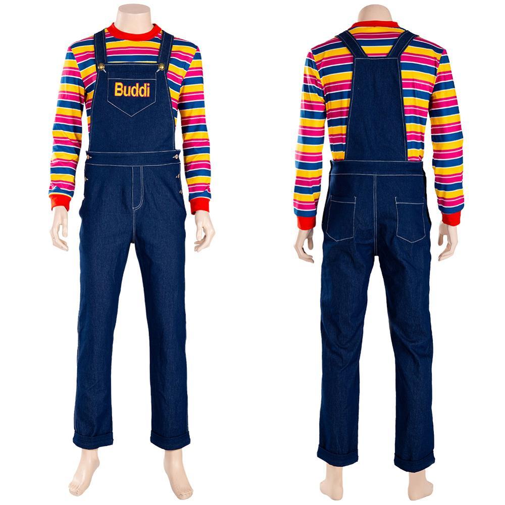Kind Spielen Kostüm Chucky Cosplay Kostüm Bib hosen Für Erwachsene Kinder Junge Outfit Halloween Karneval Kostüme Nach Maß