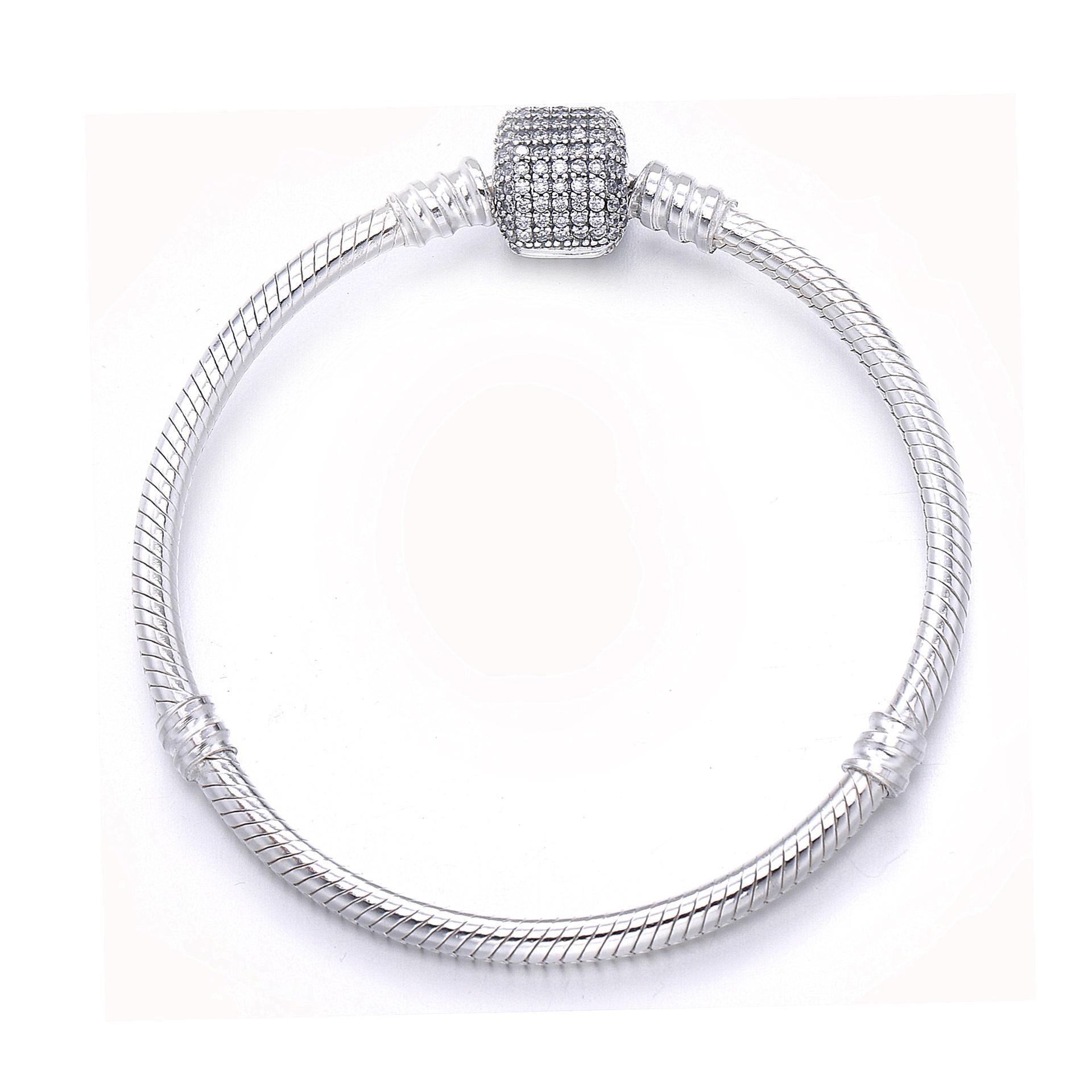 Luxury 100 925 Sterling Silver Bracelet Signature Clasp Crystal Snake Chain Bracelet Bangle Fit Women Bead