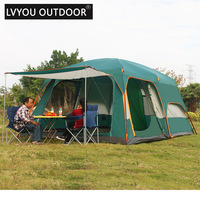 Outdoor 6 people 8 people 096 size double layer rainproof multi family party tents outdoor camping tent