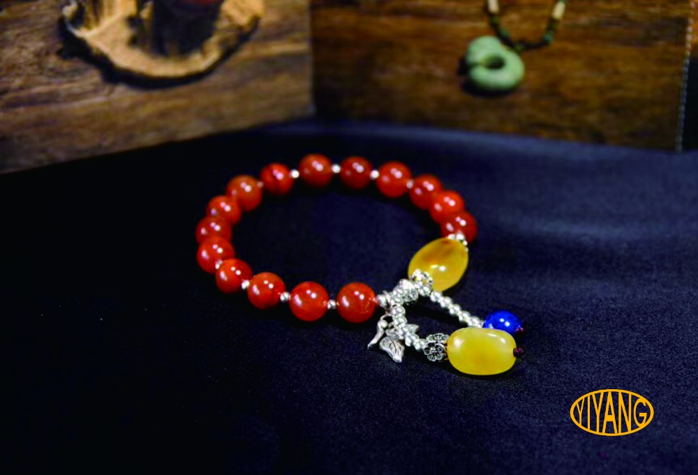 YY Fine Jewelry Handmade 925 sterling silver natural red agate fashion luxury boutique colorful woman round party cute bracelet все цены