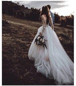 Image 3 - LORIE Dài Tay Áo Boho Wedding Dress 2019 Phồng Vải Tuyn Appliques Ren A Line Tulle Cô Dâu Cổ Điển Dresses Wedding Gown