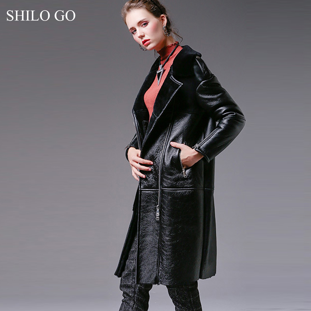 SHILO GO Fur coat Womens Winter Fashion Merino sheep fur long coat laple loose concise zipper black thick warm locomotive coat