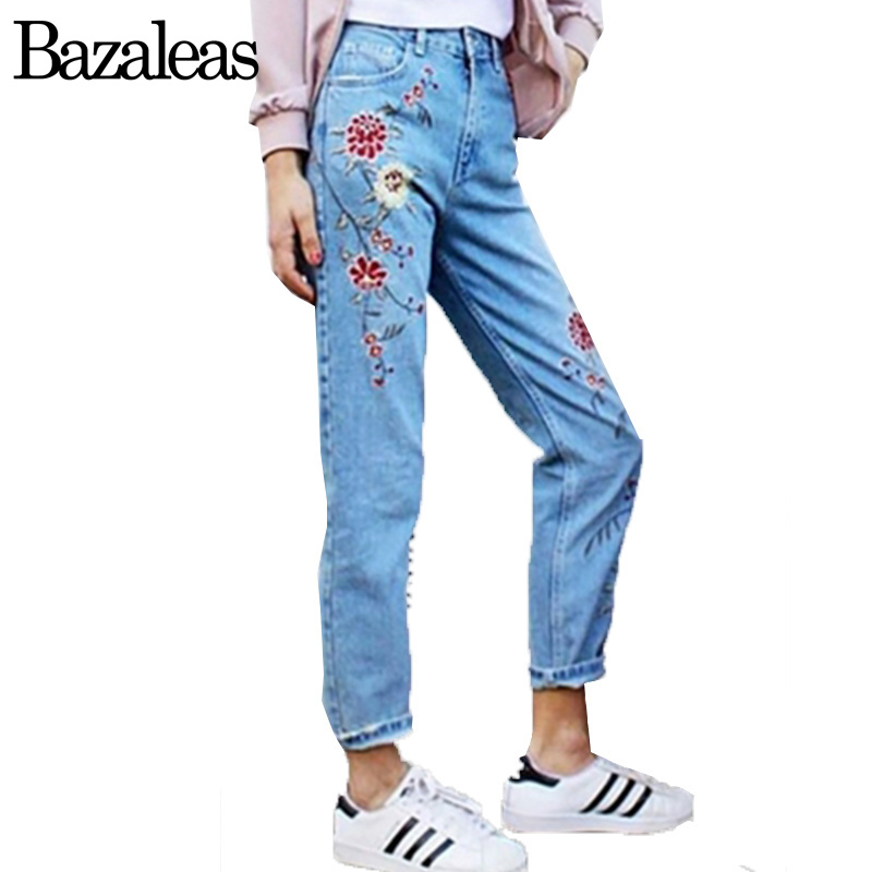 Bazaleas 2017 Spring Pockets Straight Denim Jeans Women Bottom Flower Embroidery Jeans Female Light Blue Casual Pants Capris flower embroidery jeans female light blue casual pants capris 2017 spring autumn pockets straight jeans women bottom
