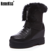 KemeKiss Women High Wedges Boots Thick Fur Snow Boots Half Short Boots In Winter Warm Shoes Platform Women Footwear Size 34-39(China)
