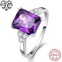 J C Unisex Engagement Emerald Cut 5 3ct Nano Russian Amethyst Emerald White Topaz Solid 925