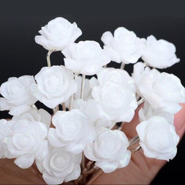20pcs Lot Wedding Bridal Bridesmaid Silver P White Rose Flower Hair