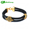 New Arrival Classical design black stingray bracelets,men's stingray skin bracelets handmade leather bracelet SSB-0058