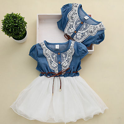 Princess Girls Baby Kids Lace Belt Denim Tulle Stitching Dresses Age 1-6Y