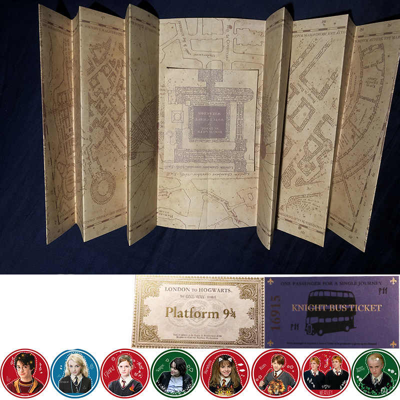 The Marauder's Map/Hogwarts Letter/Platform 3/4 Tickets Harri Potter Wizard Ron Hedwig Hermione King's Cross Railway Station