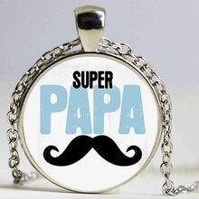 Wholesale Glass Dome Necklace Handmade super papa Pendant Silver Antique Bronze Plated Necklace Chain For Women HZ1