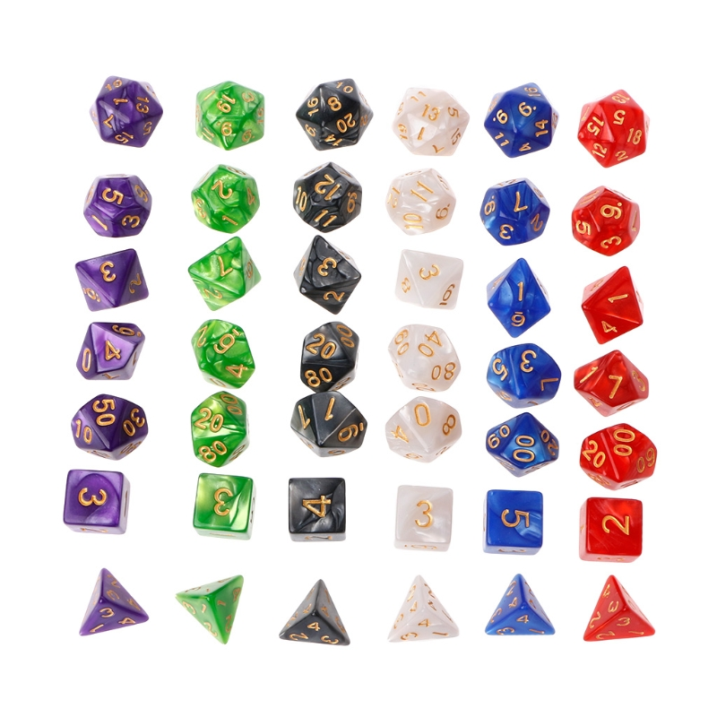 Polyhedral Dice Gold Numbers For Dragon Pathfinder D20 D12 D10 D10%  D8 D6 D4 7Pcs Dices New