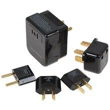 黒soshineの 4 で 1 米国/イギリス/eu/auユニバーサル 220/240 に 110/120vコンバータとプラグセットアダプタ