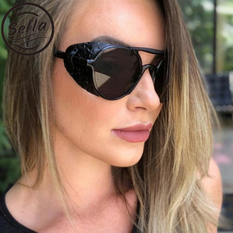 Hot Sale Sella 2019 Retro Punk Pu Leather Decoration Sunglasses Brand Designer Fashion Men Women Goggle Wind Proof Steampunk Sun Glasses Relieving Rheumatism