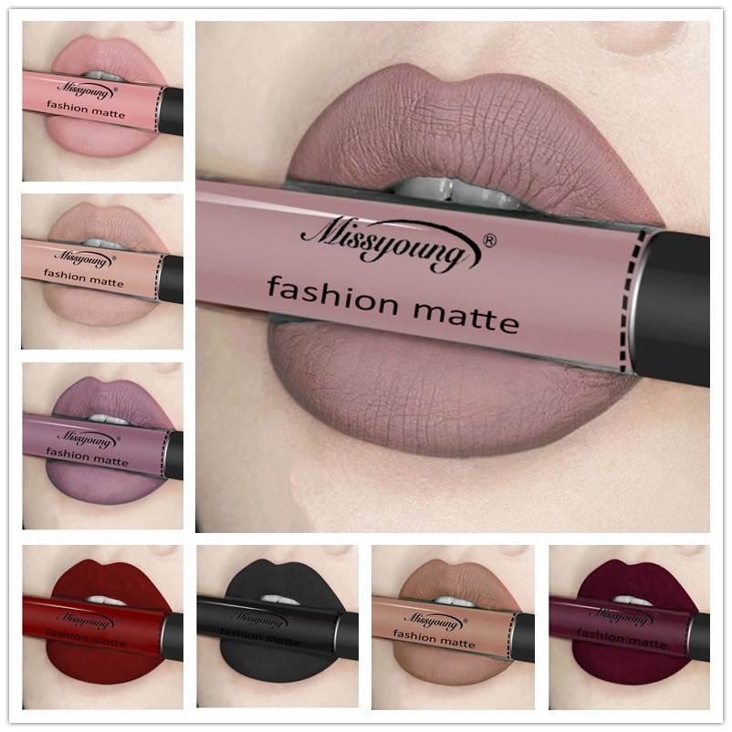 12 Colors Liquid Lipstick beauty Long lasting Matte Lip Gloss Waterproof Red Velvet Lips Tint Sexy lipgloss Nude Lip Makeup(China)