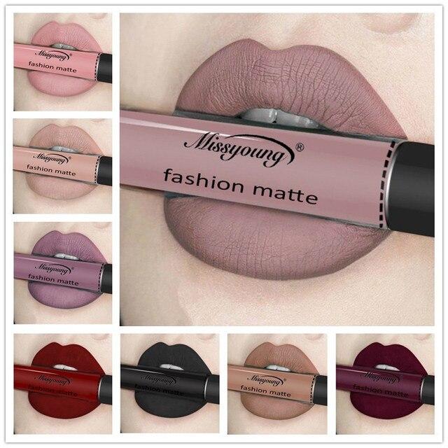 12 colores de lápiz labial líquido belleza larga duración mate brillo de labios impermeable rojo de labios tinte Sexy brillo de labios Nude maquillaje