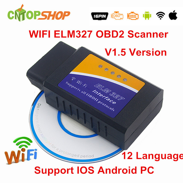 Best Sell ELM327 Wifi OBDII Interface Wireless WI FI ELM 327 V1.5 Scanner For iOS Android Torque ELM 327 Wi-Fi OBD2 Code Reader