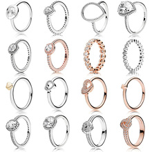 New Fashion For Women 925 Sterling Silver Rings Rose Gold Hollow Love Combination Crystal Finger Ring For Wedding Jewelry Gift цена в Москве и Питере