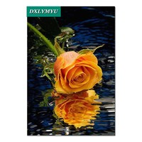 Home Beauty 3D Diy Dmc Handwork Sets Diamond Painting Water Yellow Rose Cross Stitch Diamond Embroidery