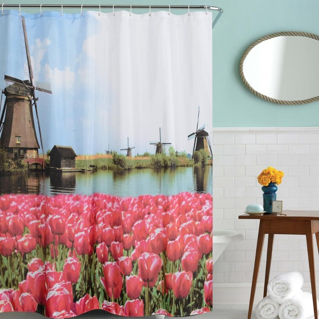 Windmill Tulip Scenery Shower Curtain Waterproof Polyester Fabric ...