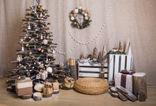 Laeacco Christmas Tree Wood Gifts Baby Wooden Floor Photography Background Customized Photographic Backdrop For Photo Studio