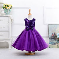 New Arrival A-Line Sequins Flower Girl Dress Party Wedding Princess Tulle Summer Dresses Children Clothes