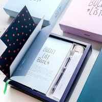 """""""100 Lista de Balde"""" Agenda Planejador Scheduler Notebook Pacote de Presente de Luxo Caixa De Presente com Caneta Adesivos Para Fazer A Lista"""