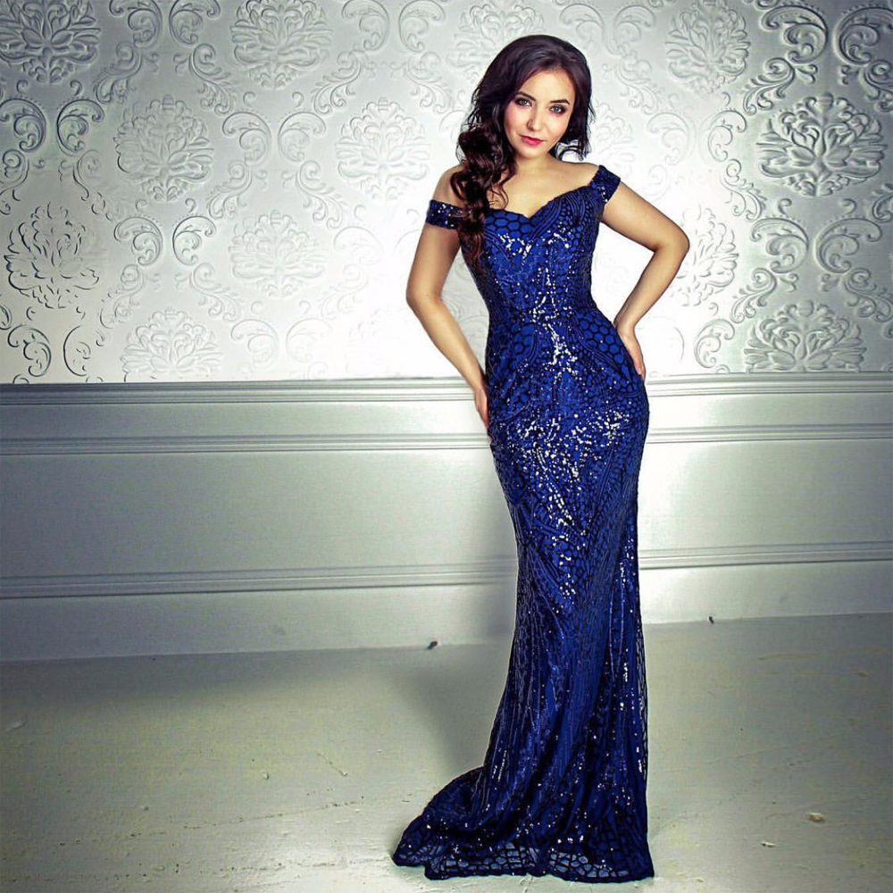 Slash Neck Sequined Maxi Dress Off The Shoulder Backless Bodycon Party Dress Floor Length Evening Party