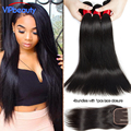 Bele Virgin hair Peruvian straight lace closure with hair bundles middle/free/three part lace closure with Peruvian virgin hair
