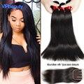 Bele cabelo Virgem Peruano reta fechamento do laço com feixes de cabelo médio/free/três parte lace encerramento com Peruano cabelo virgem