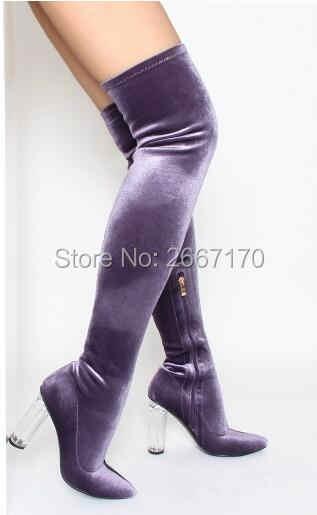 5ce15288b63f4 Velvet Thigh High Boots Women Clear Heels Soft Over the Knee High Booties  Beige Black Purple