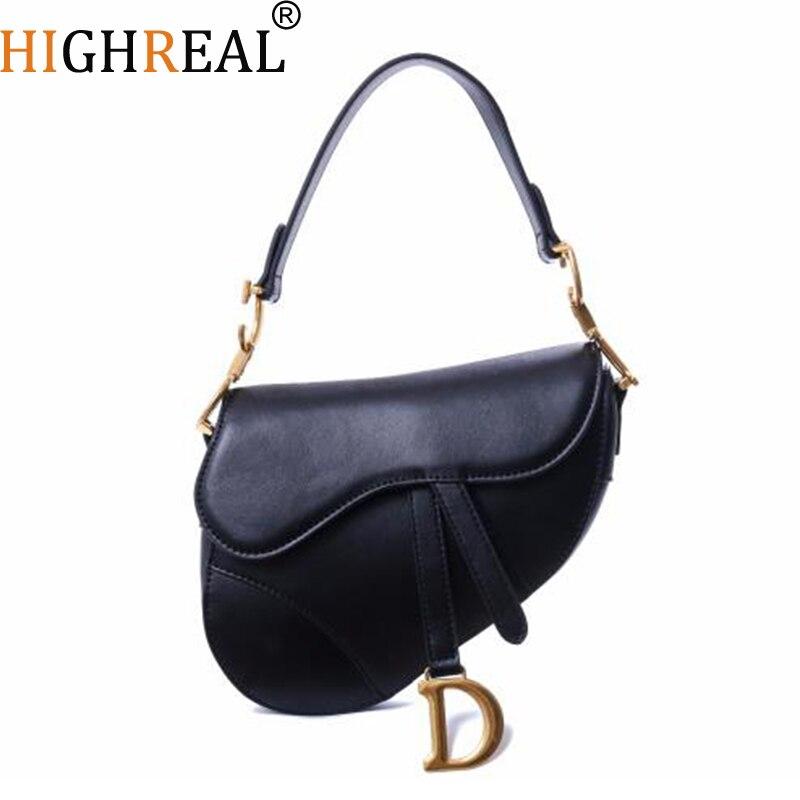 Luxury Handbags Women Bags Designer Genuine Leather Saddle Bag Fake Designer Shoulder Bag 2019 New Design luxury designer genuine leather pearl studded padlock bag women shoulder bag