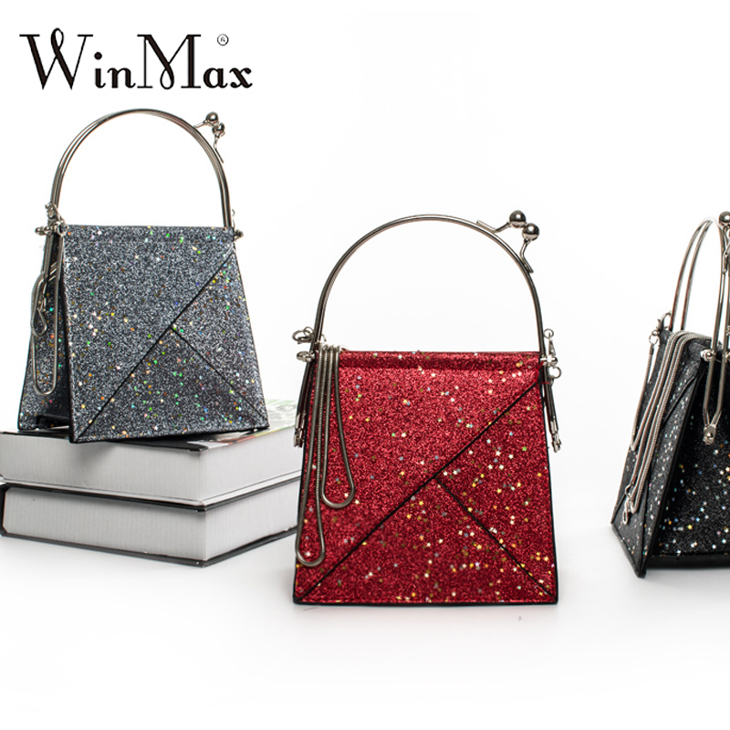 Ins style Personality bling stars Sequins Clutch Evening Bag Metal Wristlets Mini Party Bag girls Handbag & crossbody bag Purse