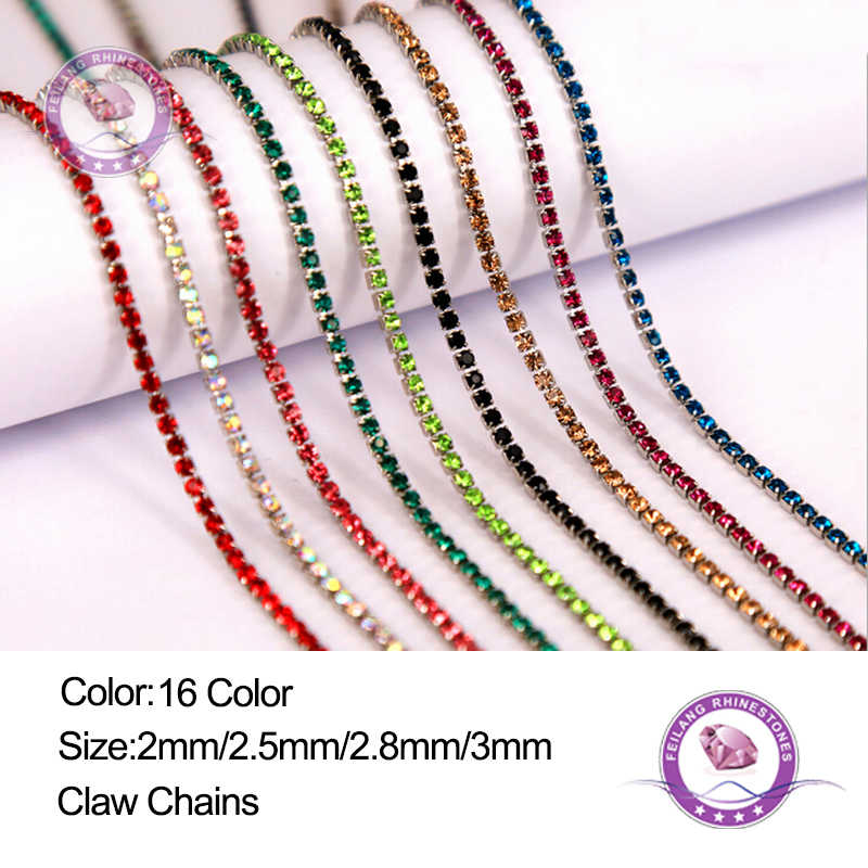 Feilang 2M lot 16 Color Transparent Rhinestone Chain 2 2.5 2.8 3mm b2f2548d6c94