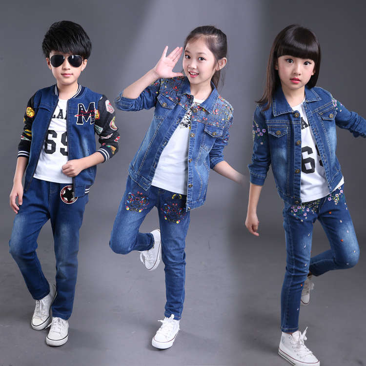 2018 New Sequined Spring Fashion Baby Teen Girls Boys Clothing Sets Baby Clothes Sets Jacket+shirt+denim Jeans 3pcs Kids Suits baby fashion clothing kids girls cowboy suit children girls sports denimclothes letter denim jacket t shirt pants 3pcs set 4 13