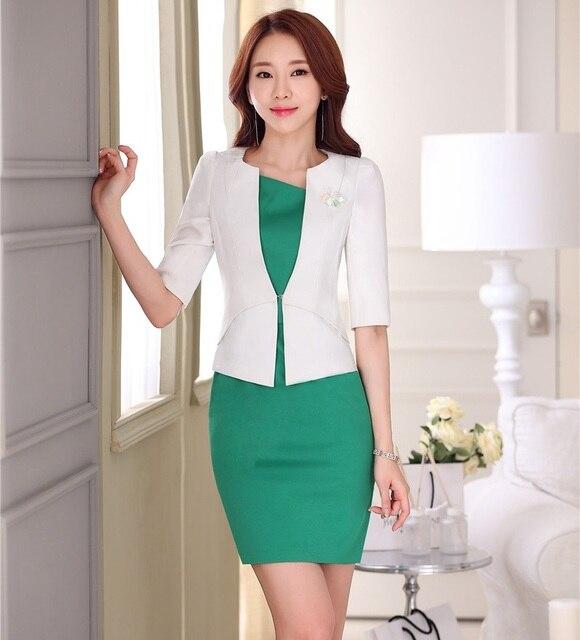 bc403a9a94d Formal OL estilos Primavera Verano profesional blanco negocios mujeres  uniformes diseño Blazer trajes con chaquetas y