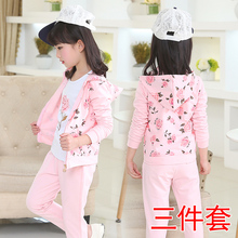 2017 new girl spring and autumn dress roses casual sports suit big children girl sports children