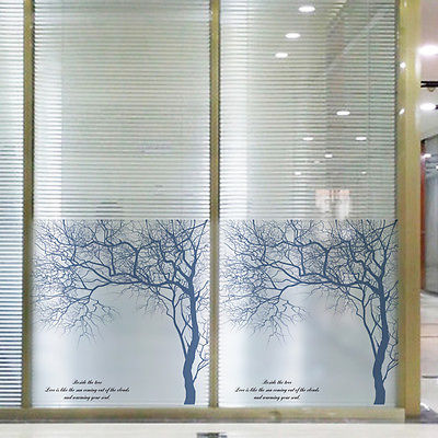 bedroom bathroom frosted privacy frost glass window film sticker blue birch treechina