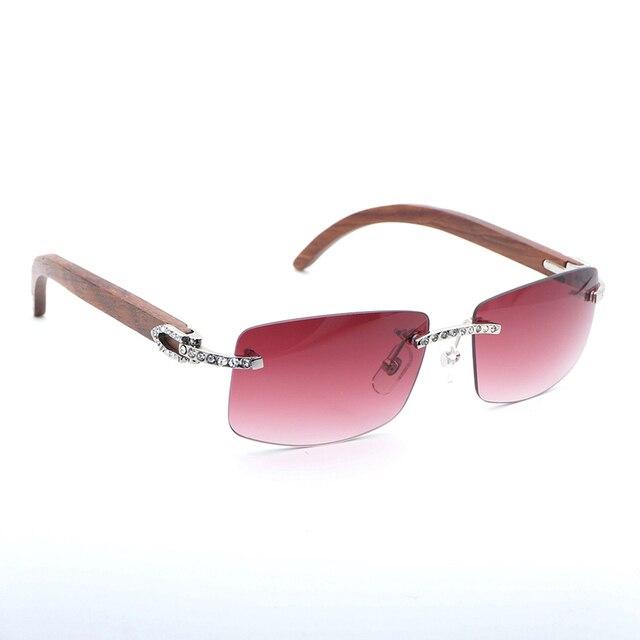 ff851b3c8892 Rhinestone Rimless Wood Sunglasses Men Black White Buffalo Horn Eyewear  Accessories Oculos Shade for Summer Beaching Driving