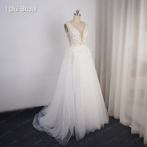 Image 3 - Split Leg Wedding Dress Short Inside Long Outside Floral Lace with Bow Tie Bridal Gown