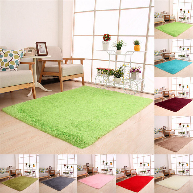 Fluffy Rugs Anti Skid Shaggy Area Rug Dining Room Home Bedroom Carpet Floor  Mat Wholesale