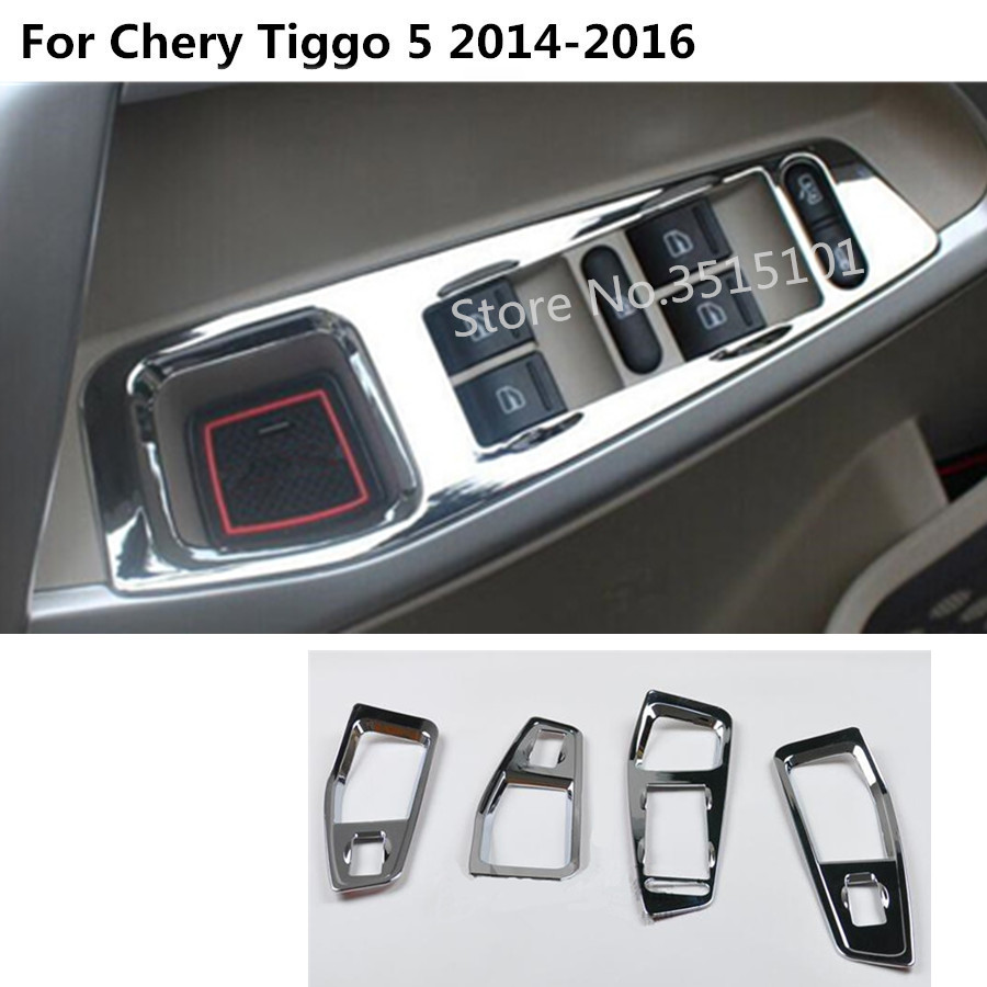 Car door Window glass inner panel Armrest Lift Switch Button trim frame part 4pcs For Chery Tiggo 5 Tiggo5 2014 2015 2016(China)