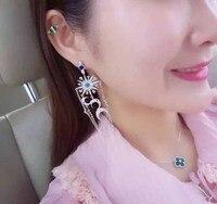 ALW Europe personality exotic exaggerated long earrings silver earrings tassel female models