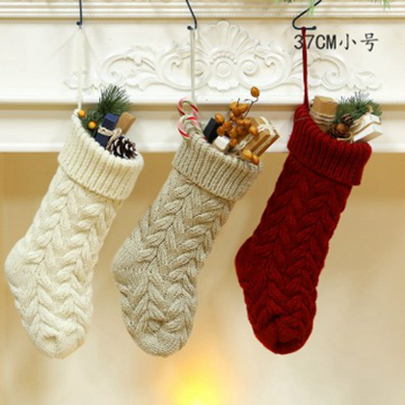 1 Pcs Christmas Stocking Knitted Santa Floral Candy Gift Bag For Children Girls Boys Xmas Tree Hanging Decoration CZL8683