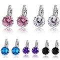 Nueva moda azul rosa púrpura negro Crystal plata 925 pendientes para mujeres joyería de la boda declaración pendientes de aro mujer oído lazo